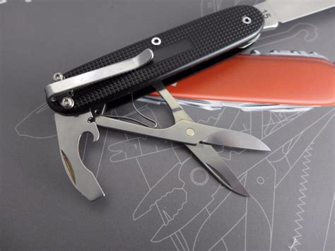 Swiss Army 8715 Silver Black custom victorinox pioneer compact with scissors and pocket