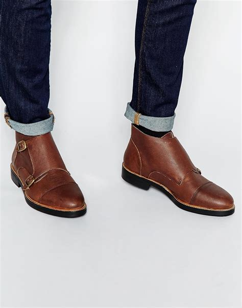 mens monk boots lyst asos monk boots in brown leather in