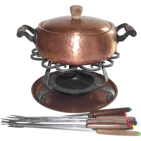 copper fondue pot stockli netstal swiss made hand hammered 1940 s vintage copper pinterest