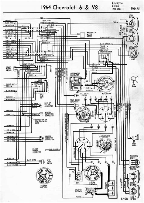 wiring diagrams of 1964 chevrolet 6 and v8 biscayne