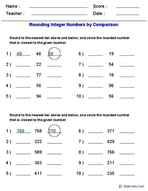 Worksheet Rounding by Rounding Worksheets For Integers By Comparison Generate