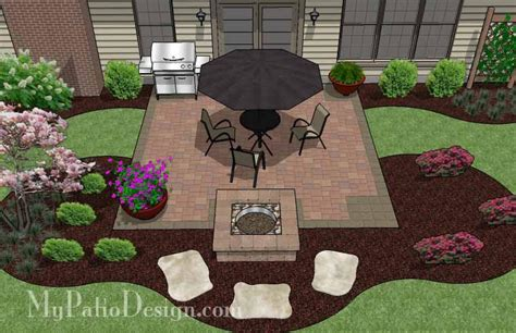 Diy Square Patio Design With Fire Pit Download Plan Patio Layout Design
