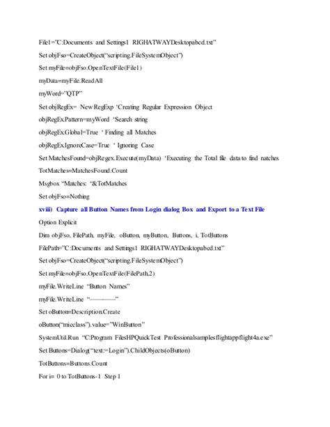objregex pattern qtp imp script exles