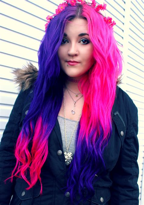 hairstyles dyed pink purple half and half ombre dyed hair dyed hair