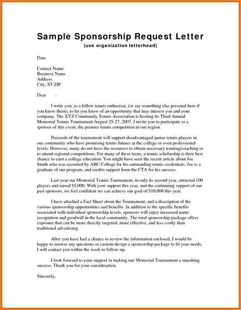 Sponsorship Letter Pattern sponsorship request letter resume skills