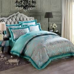 Pattern Bedding Sets Turquoise And Gray Vintage Flower Pattern Luxury Jacquard Design Satin Fabric