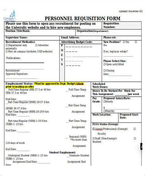 personnel form template 22 requisition form sles sle templates