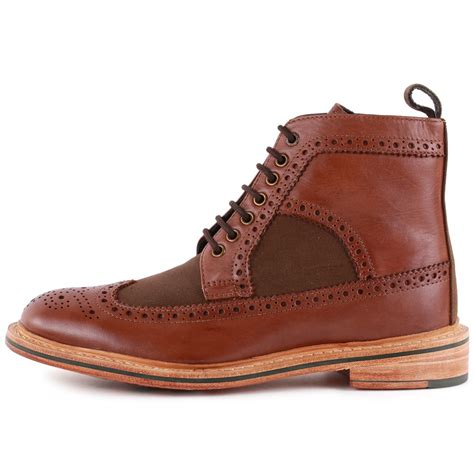 barbour marshall mens brogue boots in brown