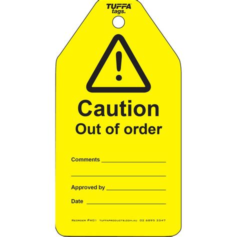 order tags caution out of order tags warning tags