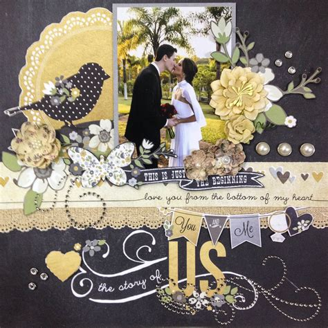 Golden Wedding Album Layout by The Story Of Us Scrapbook Using The Simple Stories