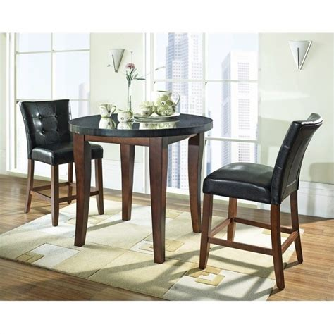 granite dining set steve silver granite bello 3pc round counter dining set in cherry mg600 set