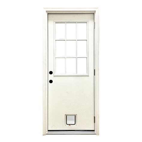 Cat Doors For Exterior Doors Steves Sons 32 In X 80 In Classic 9 Lite Lhos White Primed Textured Fiberglass Prehung Front
