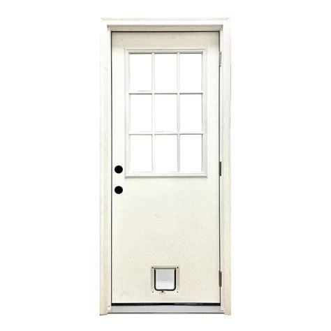 Cat Doors For Exterior Doors Steves Sons 32 In X 80 In Classic 9 Lite Lhos White Primed Textured Fiberglass Prehung Front