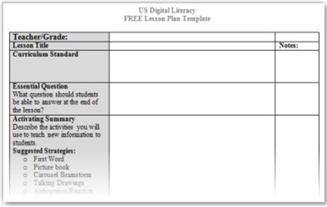 Us Digital Literacy Strategies For Instruction Teaching Strategies Lesson Plan Template