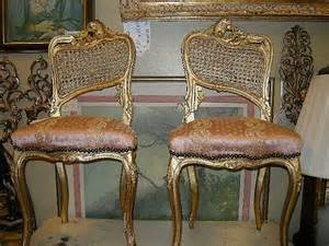 Vintage gold gilt gesso wood french guest chairs true pair fine