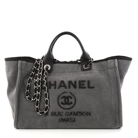 Chanel Sequined Denim Handbag by Chanel Deauville Limited Edition 2017 Large Size Sequin