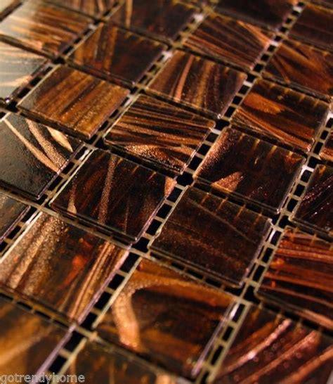 1 sf brown iridescent glass mosaic tile backsplash kitchen