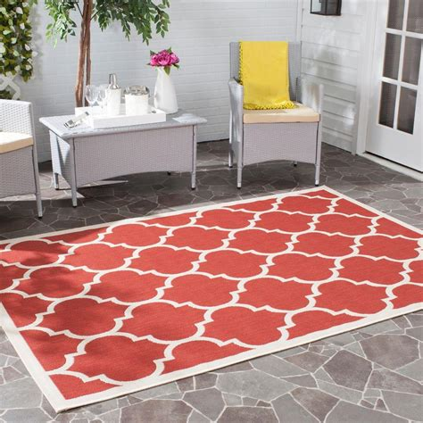 Outdoor Patio Area Rugs Safavieh Courtyard Bone 9 Ft X 12 Ft Indoor Outdoor