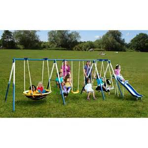 walmart outdoor swing set sportspower super 8 fun metal swing set walmart com aria
