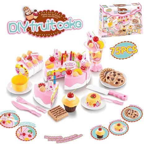 Mainan Anak Diy Fruit Cake 75 Pcs Blue 1 diy fruitcake 75pcs set cookware set fruit birthday cake