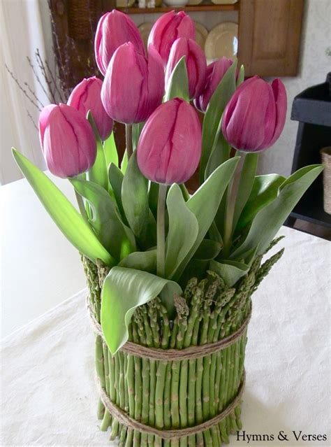 tulips arrangements tulips and asparagus centerpiece live creatively
