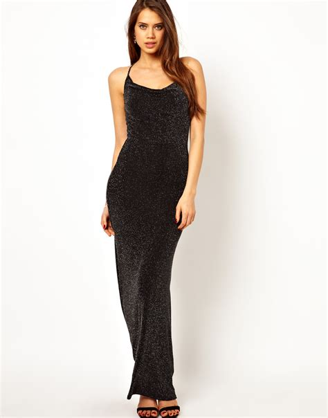 Maxi Jersey Manila Black Murah lipsy cowl neck maxi dress in glitter jersey in black lyst