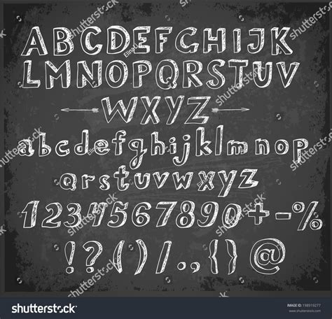 design font blackboard doodle sketch font on blackboard stock vector 198919277