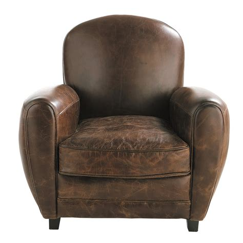 club armchair leather leather club armchair in brown oxford maisons du monde
