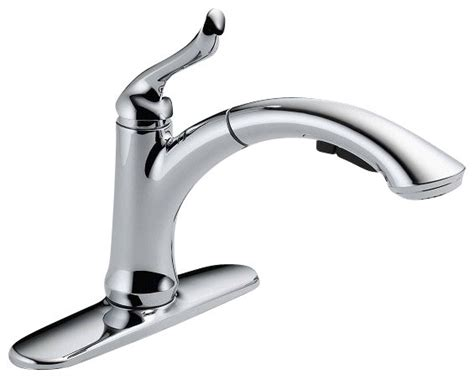 water efficient kitchen faucet delta linden single handle water efficient pull out