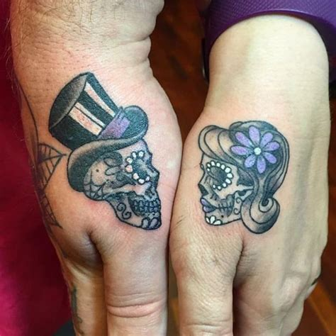 skull couple tattoos image result for sugar skull