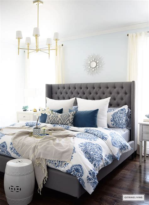 Grey Upholstered Bedroom In Swing Home Tour 2017 Grey Upholstered Bed
