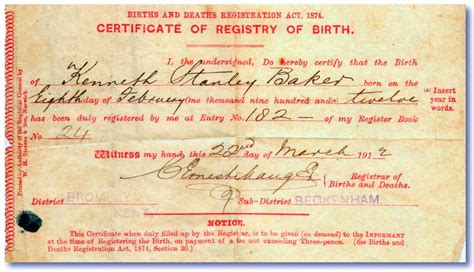 What Is A Birth Record File 1912 Birth Certificate Ken Baker Jpg Wikimedia Commons