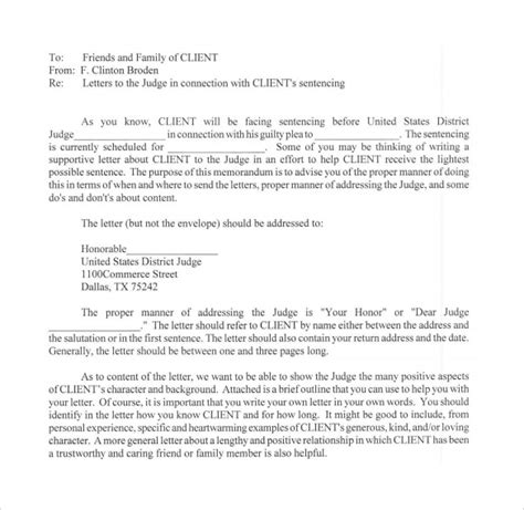 Character Letter Sles For Judge Sle Character Letter For Court Templates 8