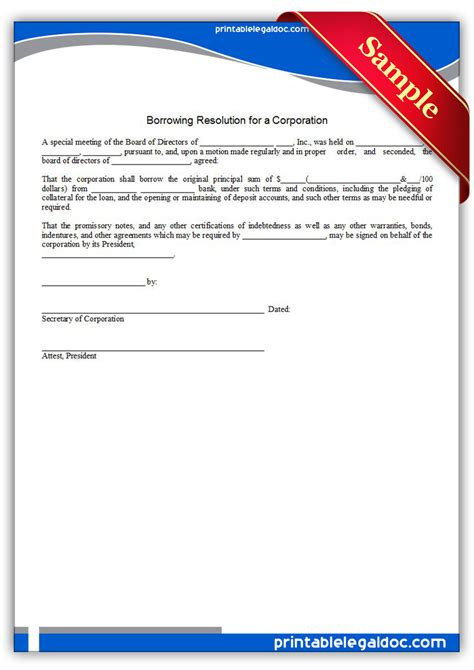 llc resolution template free printable borrowing resolution for a corporation