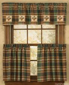 lodge decor curtains pinecone patch lined applique curtain valance rustic