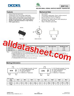 diodes inc b140 13 f mmbt3904 13 f データシート pdf diodes incorporated
