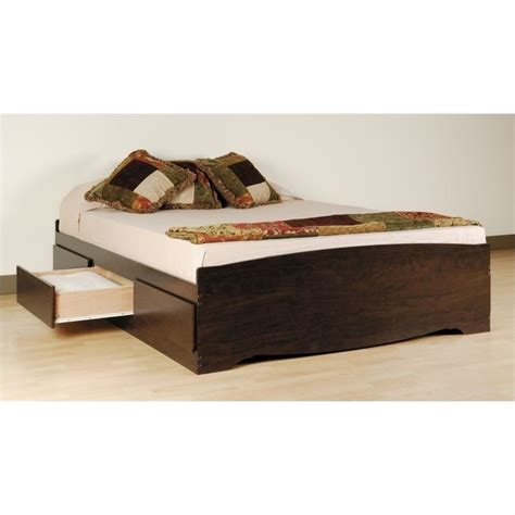 platform bed with storage and headboard platform storage bed with floating headboard in espresso