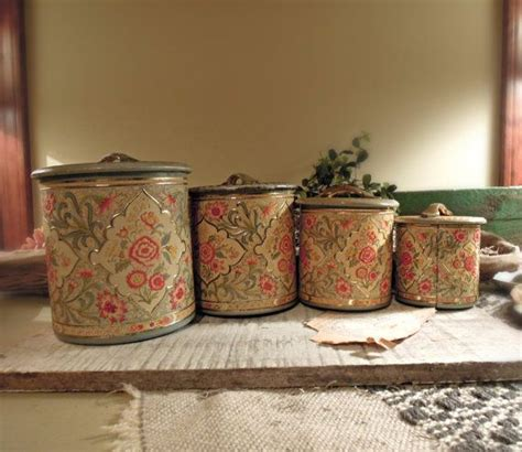 vintage mushroom canisters metal canister set nesting vintage tin canister set of four made in holland