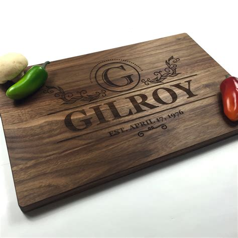 personalized gifts cutting board personalized wedding gift monogrammed modern