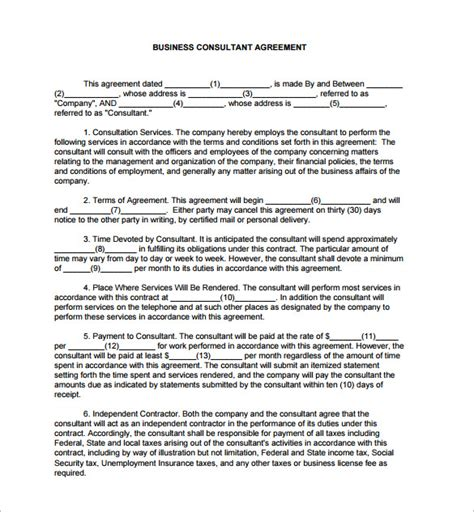 consulting contract template free business consulting agreements template free simple