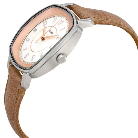 fossil idealist light brown leather watch fossil idealist white dial ladies light brown leather