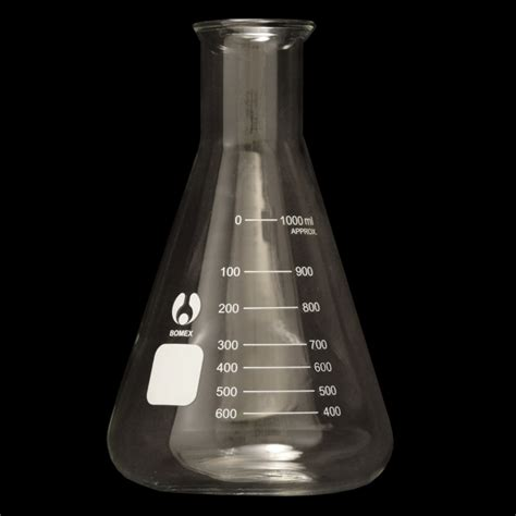 Erlenmeyer Flask 1000 Ml Narrow Neck With Graduation Duran 1000ml erlenmeyer flask graduated narrow neck lab