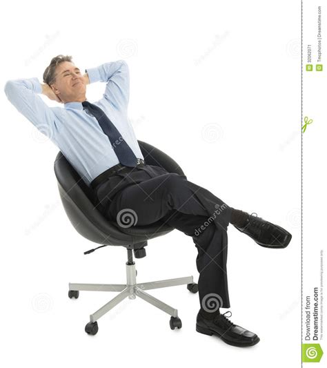 White Sitting Chair Relaxed Businessman With Sitting On