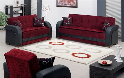 SALE: $1658.00 Paterson 3 PC Black and Burgundy Sofa Set (Sofa, Loveseat and Chair)   Sofa Sets