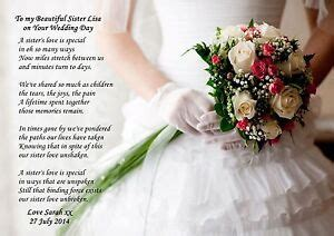 PERSONALISED TO MY SISTER ON HER WEDDING DAY POEM IDEAL TO