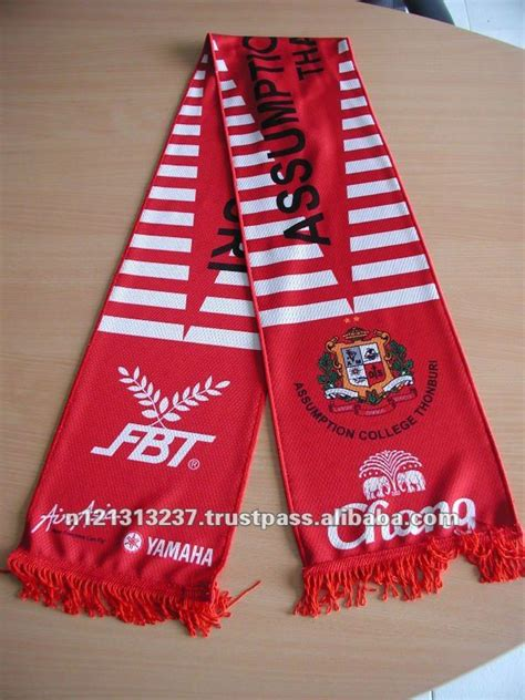 custom made polyester football fan knitted sport scarf