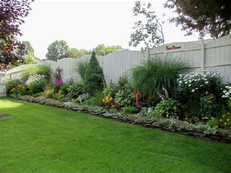Backyard Fence Landscaping Ideas Wordless Wednesday Backyards Flower And White Fence