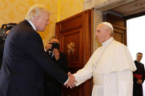 trump pope francis pope francis donald trump exchange gifts messages of