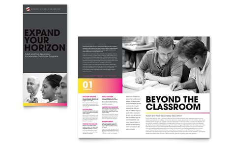 brochure templates education free adult education business school tri fold brochure