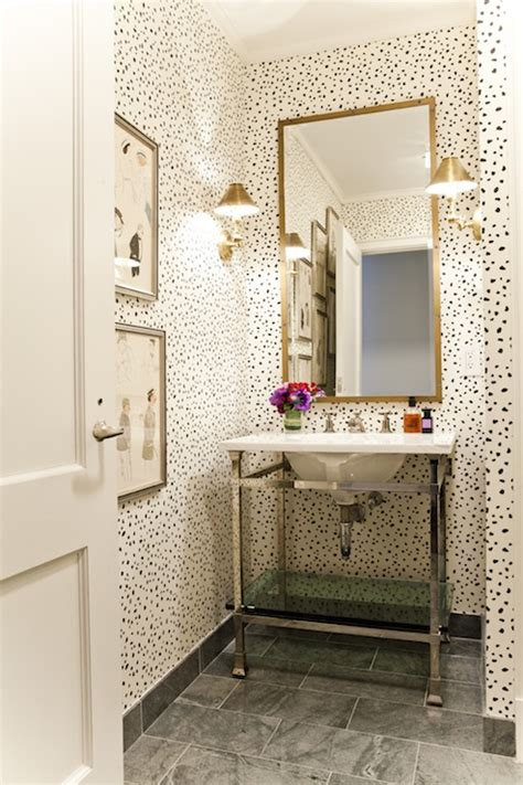powder rooms with wallpaper dalmatian wallpaper transitional bathroom lilly bunn
